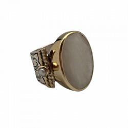 Grosse bague ethnique CANYON argent doré - Pierre de lune & Perles blanches