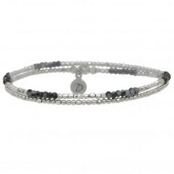 Bracelet élastiqué double tours BIRDY Argent - Perles noires & grises DORIANE BIJOUX