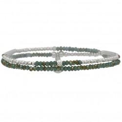 Bracelet multi-tours élastiqué FLIRTING Argent - Perles vert doré DORIANE BIJOUX
