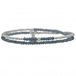 Bracelet multi-tours élastiqué FLIRTING Argent - Perles bleues DORIANE BIJOUX