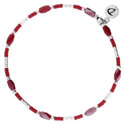 Bracelet fin élastique INFINITY Argent - Tubes & Perles rouge grenat