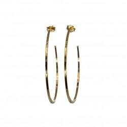 Boucles d'oreilles  fines Or - Créoles bord carré 5 cm - CANYON