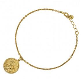Bracelet fin chaîne doré - Médaille hiéroglyphe figurines - YUNA