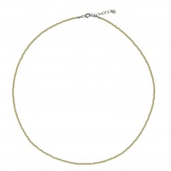 Collier court fin Argent - Câble & petites Unakites jaune YUNA