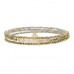 Bracelet multi-tours Elastiqué YUNA - Hématites dorées facettées & Rhodonites - Belle Mais Pas Que