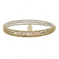Bracelet multi-tours Elastiqué YUNA - Hématites dorées facettées & Opales roses - Belle Mais Pas Que