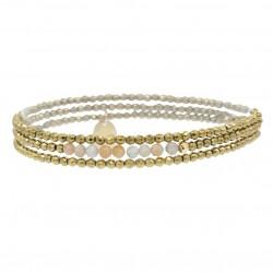 Bracelet multi-tours Elastiqué YUNA - Hématites dorées facettées & Morganites - Belle Mais Pas Que