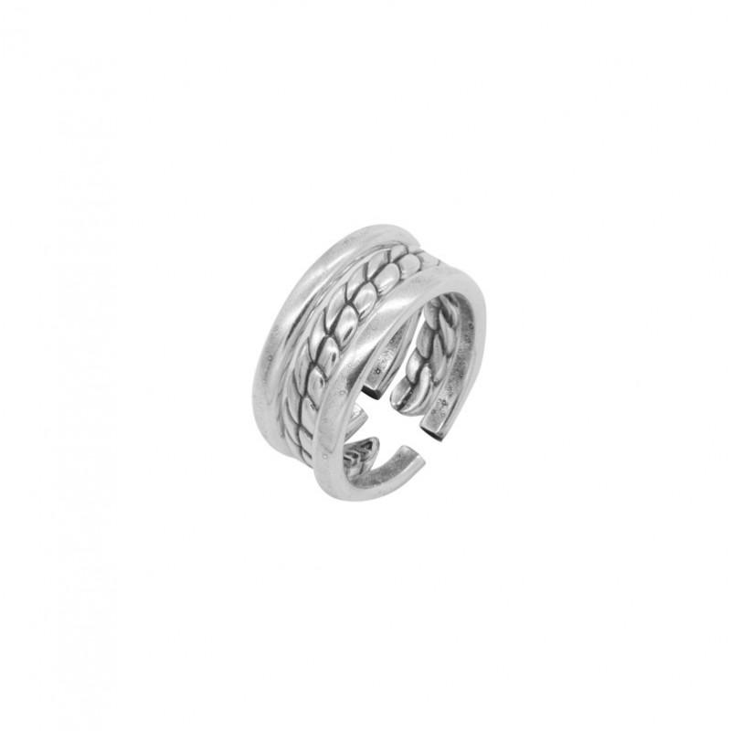 Bague Large tout métal Bréna - Trois anneaux & Jeux de tresse - CICLON