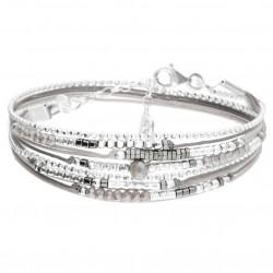 Bracelet multi-tours ATLANTA Argent - Cordons gris polaire & Perles grises - DORIANE Bijoux