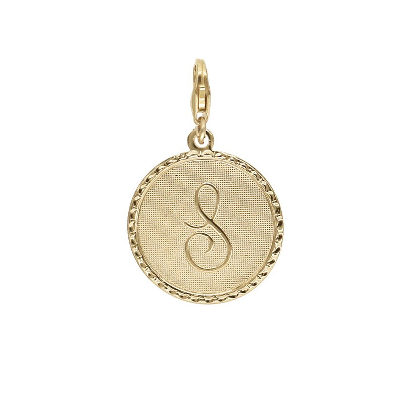 Pendentif Médaille Monogramme à clipser INITIALE au choix - Abécédaire Lettres Lettre S