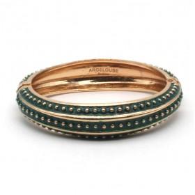 Bracelet Jonc Amok Doré émaillé Vert & Pois dorés