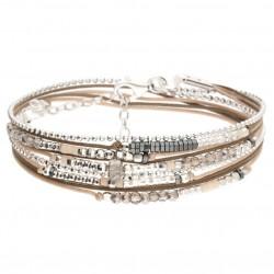 Bracelet multi-tours ATLANTA Argent - Cordons & Perles marron clair - DORIANE Bijoux