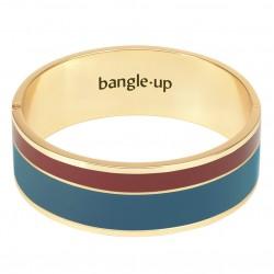 Bracelet jonc manchette Vaporetto doré émail bleu canard & brun