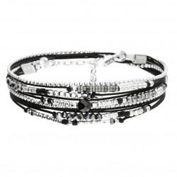 Bracelet multi-tours ATLANTA perles argent - Cordons & Perles noires