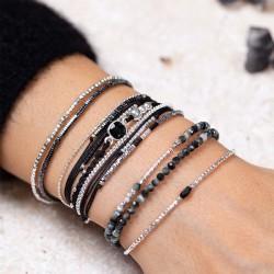 Bracelet multi-tours CASSIS Argent - Cordons noirs & Onyx carré