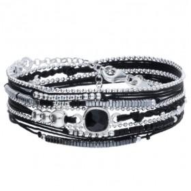 Bracelet multi-tours CASSIS Argent - Cordons noirs & Onyx carré DORIANE BIJOUX