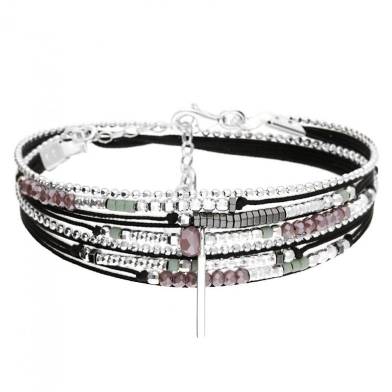Bracelet multi-tours argent BRISBANE cordons noirs - Perles violettes & Barrette DORIANE Bijoux