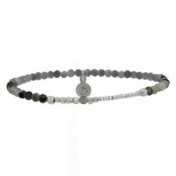 Bracelet élastiqué - Oeil d'Aigle gris & Barrette diamantée DORIANE BIJOUX