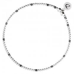 Bracelet élastique GRAIN DE FOLIE - Perles argent & Perles grises DORIANE BIJOUX
