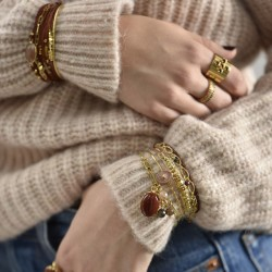 Bracelet chaîne doré Amanda - Pendentifs Pierres & Agate rouge brique