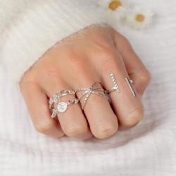 Bague fine ajustable anneaux & Barres designs effet diamanté - Milan