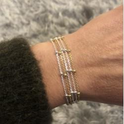 Bracelet multi-rangs chaînes Argent & Or jaune - Petites boules