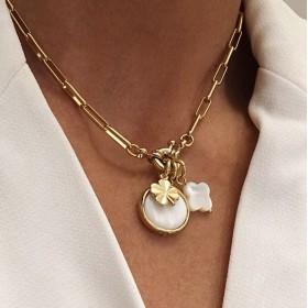 Collier court CASSIEN doré - Pendentifs Médaille & Trèfles Nacre Blanche CHORANGE