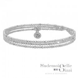 Bracelet élastique multi-tours en argent - Triologie de Perles lisses et facettées