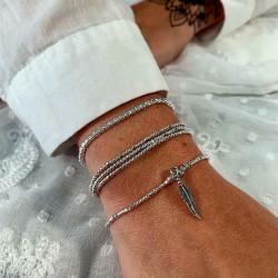 Bracelet élastique multi-tours argent - Triologie de Perles facettées TAILLE S
