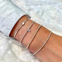 Bracelet fin élastique - Perles lisses & facettées en argent TAILLE L