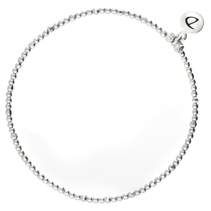 Bracelet fin élastique - Perles lisses & facettées en argent DORIANE BIJOUX