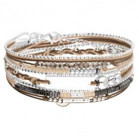 Bracelet multi-tours PLAQUE argent - Cordons & Perles beige marron DORIANE BIJOUX