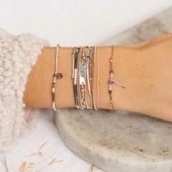 Bracelet multi-tours PLAQUE argent - Cordons & Perles noires