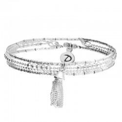 Bracelet multi-tours élastiqué Argent New Essential - Perles Tubes & Pompon  - DORIANE Bijioux