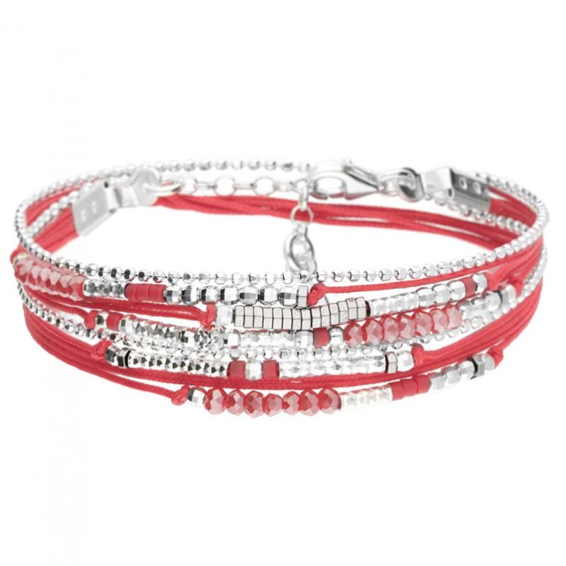 Bracelet multi-tours EGERIE argent - Cordons rouge & Hématites - DORIANE Bijoux