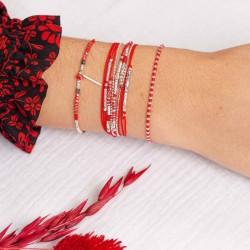 Bracelet multi-tours EGERIE argent - Cordons rouge & Hématites