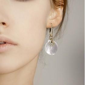 Boucles d'oreilles SONO CHORANGE - Créoles & Médaille Nacre blanche