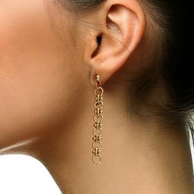 Boucles d'oreilles pendantes SALINE dorées - Anneaux ronds & Petites boules