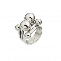 Bague Large Argent - Deux anneaux & Six boules entremêlées designs - CANYON