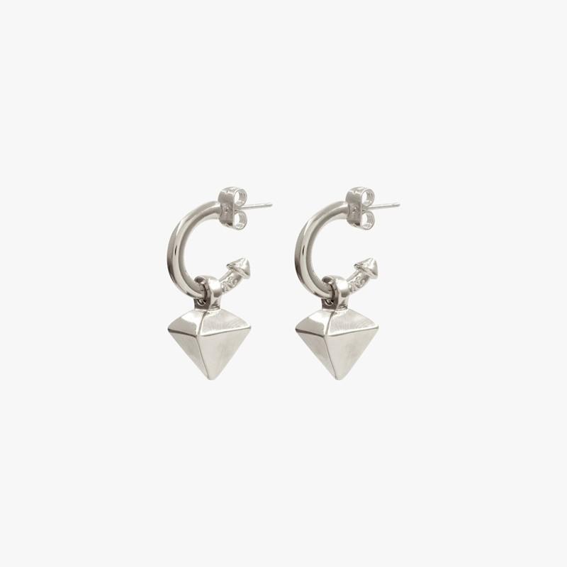 Boucles d'oreilles créoles REVERSE métal & Pendentif pyramide inversée - CXC