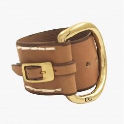 Bracelet Manchette Large BELT doré - Cuir camel & Boucle Étrier CXC