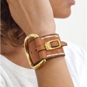 Bracelet Manchette Large BELT doré CXC