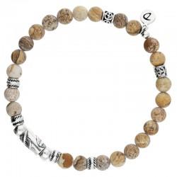 Bracelet homme élastiqué argent ORIGIN - Jaspes Beige & Décors plumes - DORIANE Bijoux
