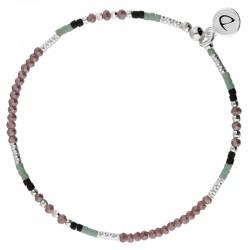 Bracelet fin élastiqué FLUFFY argent - Perles violettes vertes & noires - DORIANE Bijoux