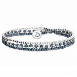 Bracelet élastique HEAVEN TRIPLE TOURS Argent & Perles bleues -DORIANE Bijoux