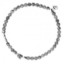 Bracelet homme élastiqué argent ENERGY - Agates grises & Décors ethniques  DORIANE Bijoux