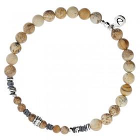 Bracelet homme élastiqué argent SPIRIT - Jaspes Hématites beiges & Décors ethniques -  DORIANE Bijoux