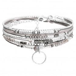 Bracelet multi-tours SANTANA Argent - Cordons gris polaire & Anneau ciselé - DORIANE Bijoux