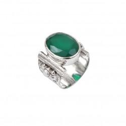 Bague large ethnique en argent Quartz vert ovale & Perles blanches CANYON