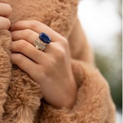 Bague large ethnique argent Lapis Lazuli ovale  CANYON